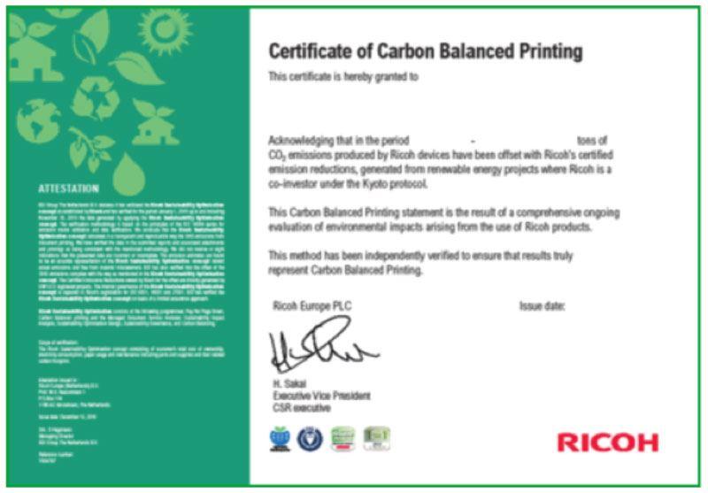 Certificato di Carbon Balanced Printing